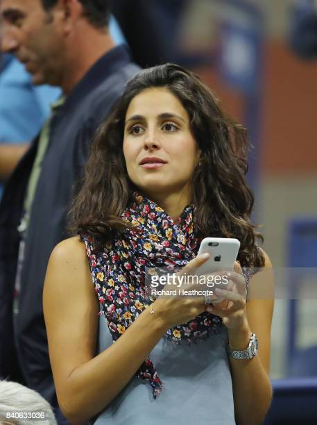 Rafael Nadal's girlfriend Xisca Perello watches him play against Dusan Lajovic of Serbia Montenegro on Day Two of the 2017 US Open at the USTA Billie...