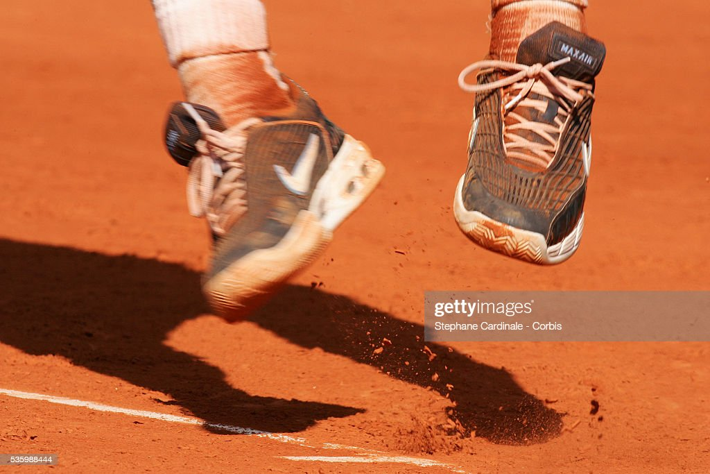 Rafael Nadal's shoes during the final match of the Monte Carlo Open Tennis tournament in Monaco. Nadal won 6-2, 6-7, 6-3, 7-6.