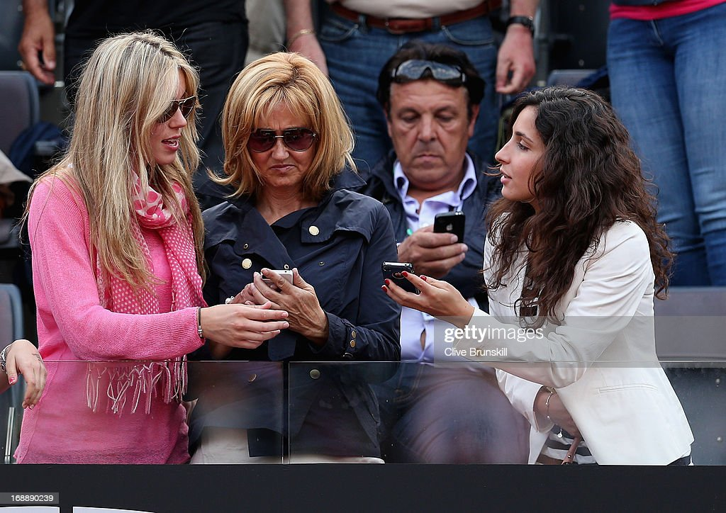 L-R Rafael Nadal's sister Isabel Nadal his mother Ana María Parera and girlfriend Maria Francisca Perello in the stands as he plays against Ernests Gulbis of Latvia in their third round match during day five of the Internazionali BNL d'Italia 2013 at the Foro Italico Tennis Centre on May 16, 2013 in Rome, Italy.