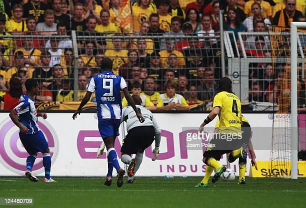 Rafael of Berlin scores his team's first goal during the Bundesliga match between Borussia Dortmund and Hertha BSC Berlin at Signal Iduna Park on...