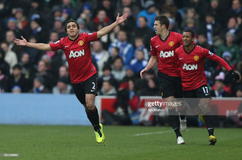 Rafael of Manchester United celebrates scoring the first goal during the Barclays Premier League match between Queens Park Rangers and Manchester United at Loftus Road on February 23, 2013 in London, England.
