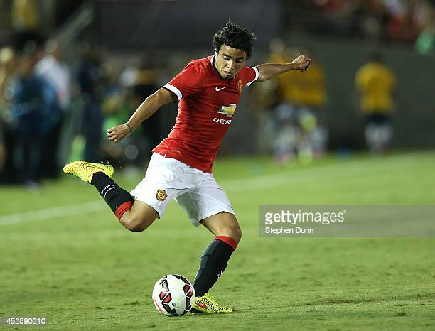 Rafael of Manchester United centers the ball against the Los Angeles Galaxy at the Rose Bowl on July 23 2014 in Pasadena California Manchester United...