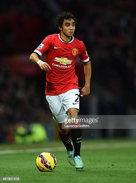 Rafael of Manchester United in action during the Barclays Premier League match between Manchester United and Chelsea at Old Trafford on October 26...