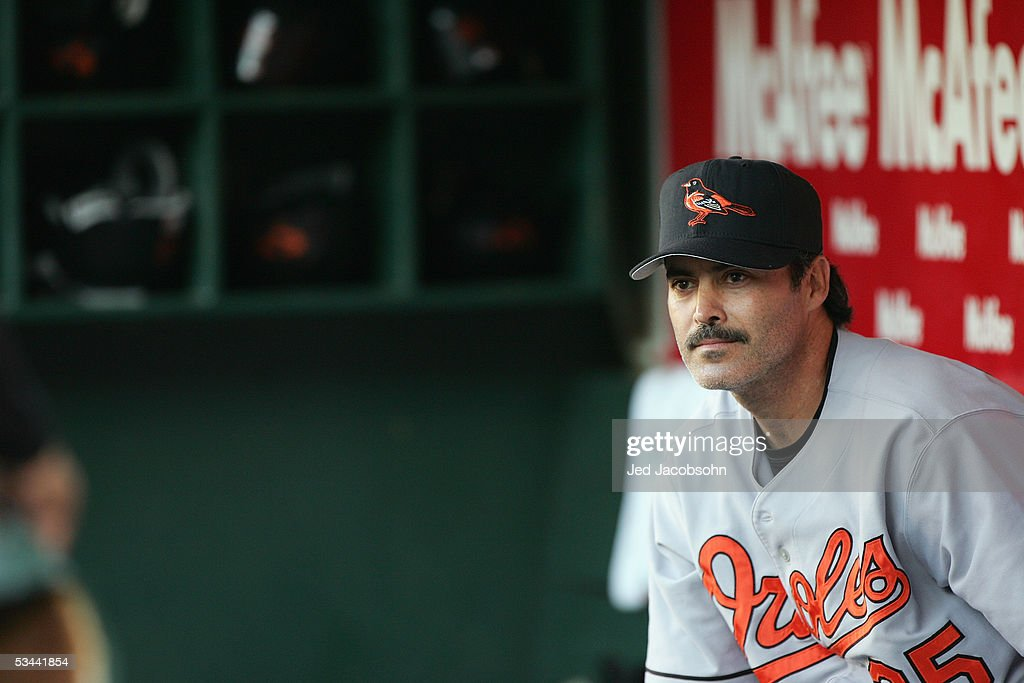Rafael Palmeiro #25 of the Baltimore Orioles looks on during the game against the Oakland Athletics at McAfee Coliseum on August 16, 2005 in Oakland, California.