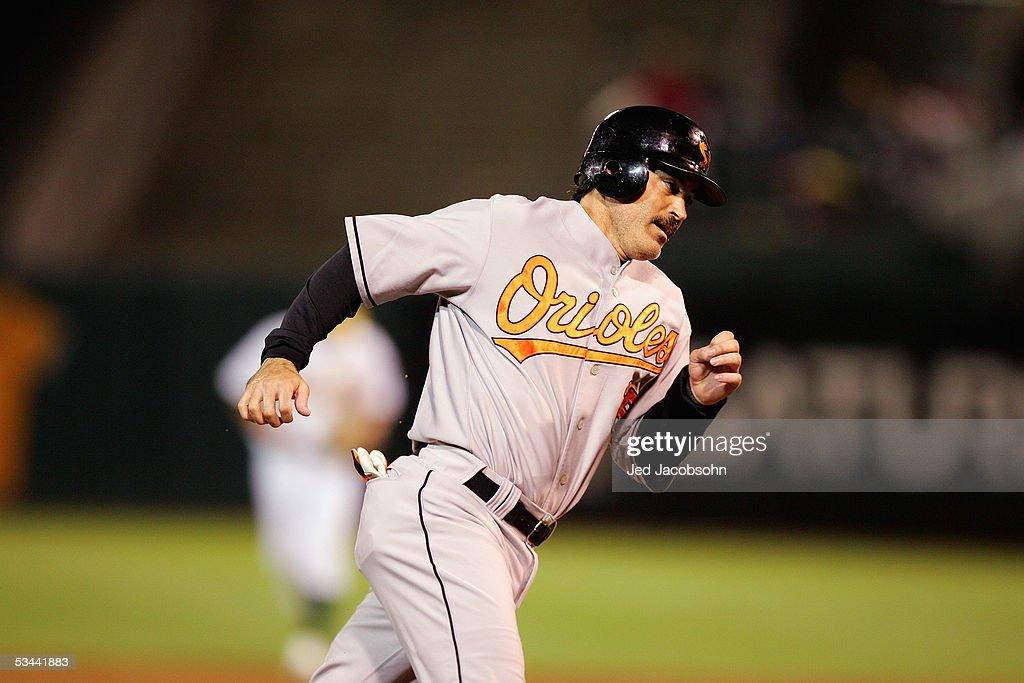 Rafael Palmeiro #25 of the Baltimore Orioles runs the bases against the Oakland Athletics at McAfee Coliseum on August 16, 2005 in Oakland, California.