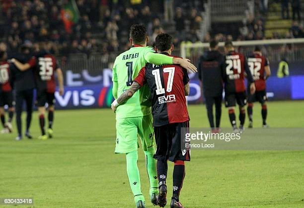 Rafael Pinheiro and Diego Farias of Caglairi at the end of the Serie A match between Cagliari Calcio and US Sassuolo at Stadio Sant'Elia on December...