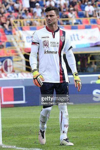 Rafael Pinheiro goalkeeper of Cagliari Calcio looks on during the Serie a match between Bologna FC and Cagliari Calcio at Stadio Renato Dall'Ara on...