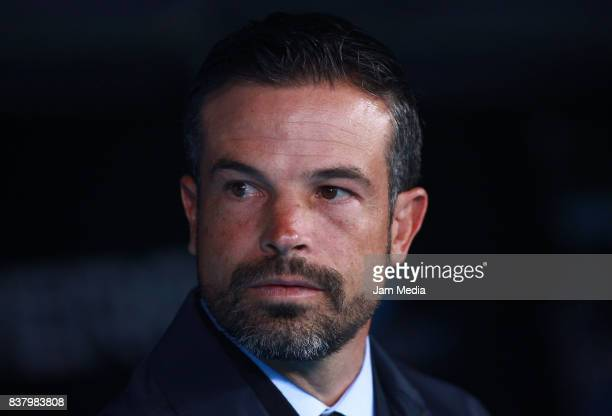 Rafael Puente Coach of Lobos BUAP looks on during the 6th round match between Atlas and Lobos BUAP as part of the Torneo Apertura 2017 Liga MX at...