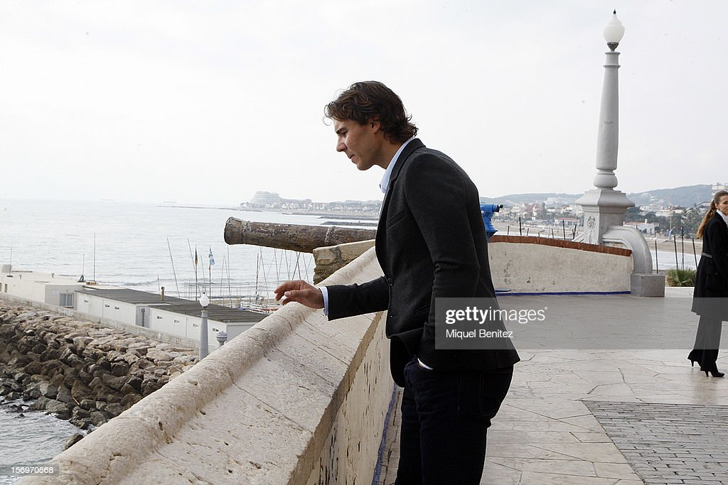 Rafael 'Rafa' Nadal attends a press conference for 'Champions Drink Responsibly' by Bacardion November 26, 2012 in Sitges, Spain.