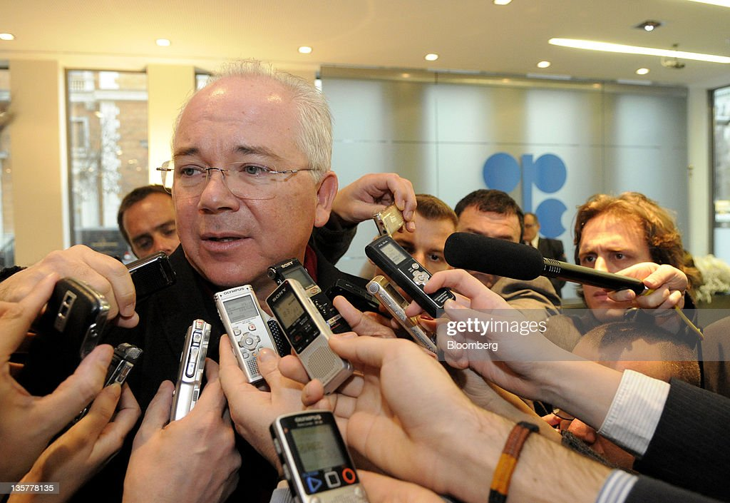Rafael Ramirez, Venezuelan's oil minister, speaks to the media as he arrives for the start of the 160th Organization of Petroleum Exporting Countries (OPEC) meeting in Vienna, Austria, on Wednesday, Dec. 14, 2011. Members of the Organization of Petroleum Exporting Countries including Iran and Saudi Arabia agreed that the group should set a production ceiling of 30 million barrels a day, an OPEC delegate said. Photographer: Vladimir Weiss/Bloomberg via Getty Images