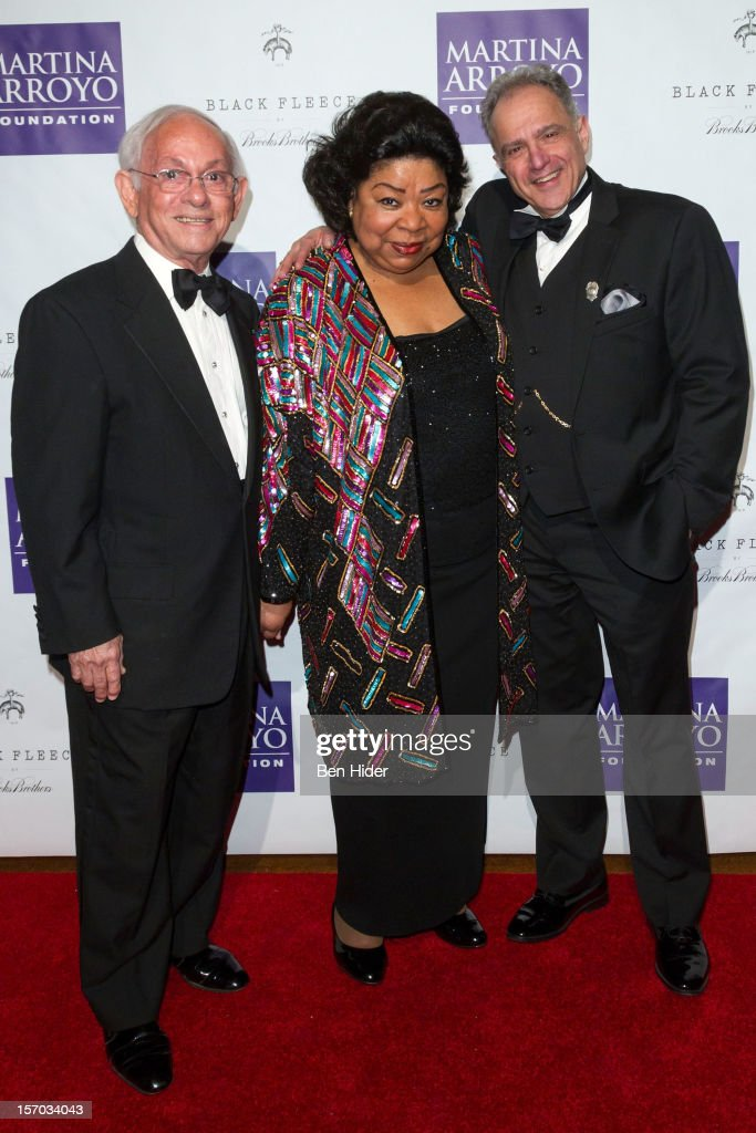 Rafael Sanchez, Martina Arroyo and <a gi-track='captionPersonalityLinkClicked' href=/galleries/search?phrase=Stan+Herman&family=editorial&specificpeople=234800 ng-click='$event.stopPropagation()'>Stan Herman</a> of QVC attends Martina Arroyo Annual Foundation Gala at 583 Park Avenue on November 27, 2012 in New York City.