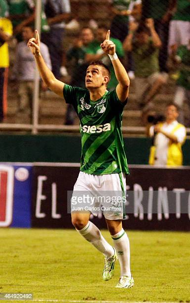 Rafael Santos Borré of Cali celebrates after scoring the first goal of his team during a match between Deportivo Cali and Millonarios as part of...