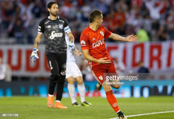 Rafael Santos Borre of River Plate celebrates after scoring the second goal of his team during a match between River Plate and Atletico de Tucuman as...