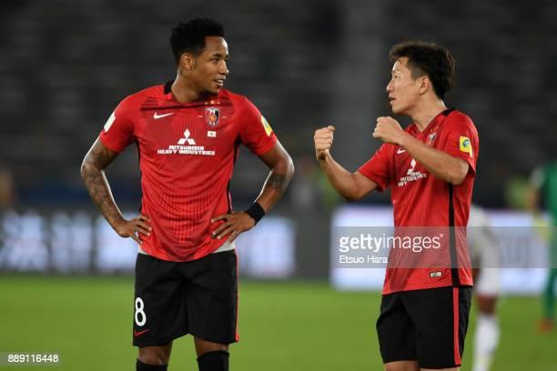 Rafael Silva and Tomoya Ugajin of Urawa Red Diamonds are seen during the FIFA Club World Cup match between Al Jazira and Urawa Red Diamonds at Zayed...