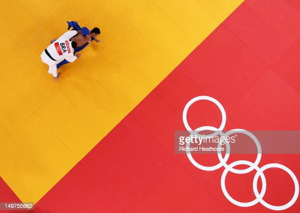 Rafael Silva of Brazil and SungMin Kim of Korea compete in the Men's 100 kg Judo on Day 7 of the London 2012 Olympic Games at ExCeL on August 3 2012...