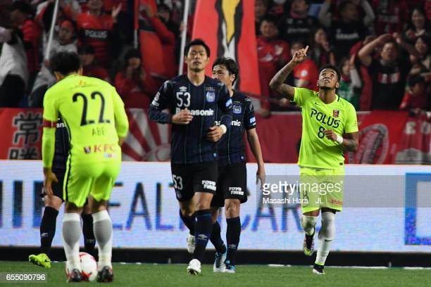 Rafael Silva of Urawa Red Diamonds celebrates scoring his side's first goal from the penalty spot during the JLeague J1 match between Gamba Osaka and...