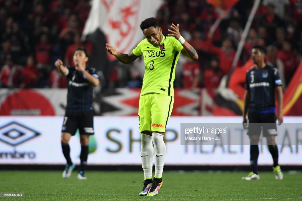 Rafael Silva of Urawa Red Diamonds celebrates scoring his side's first goal from the penalty spot during the J.League J1 match between Gamba Osaka and Urawa Red Diamonds at Suita City Football Stadium on March 19, 2017 in Suita, Osaka, Japan.