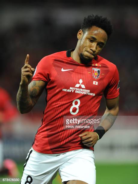 Rafael Silva of Urawa Red Diamonds celebrates scoring his team`s fifth goal during the AFC Champions League Group F match between Urawa Red Diamonds...