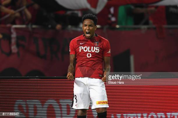 Rafael Silva of Urawa Red Diamonds celebrates scoring his team's second goal during the JLeague J1 match between Urawa Red Diamonds and Albirex...