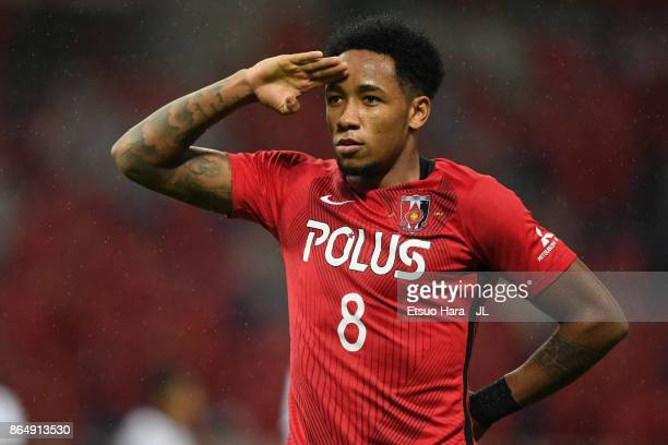 Rafael Silva of Urawa Red Diamonds celebrates scoring the opening goal during the JLeague J1 match between Urawa Red Diamonds and Gamba Osaka at...