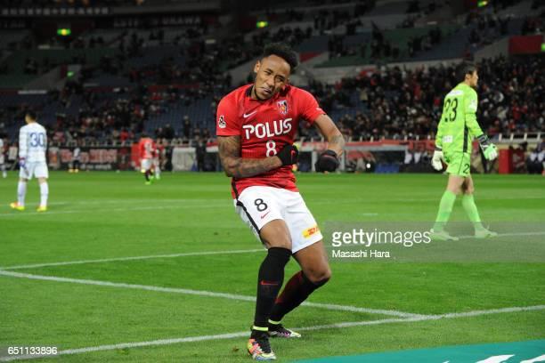 Rafael Silva of Urawa Red Diamonds celebrates the fourth goal during the JLeague J1 match between Urawa Red Diamonds and Ventforet Kofu at Saitama...