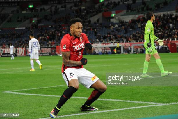 Rafael Silva of Urawa Red Diamonds celebrates the fourth goal during the JLeague J1 match between Urawa Red Diamonds and Ventforet Kofu at Saitama...