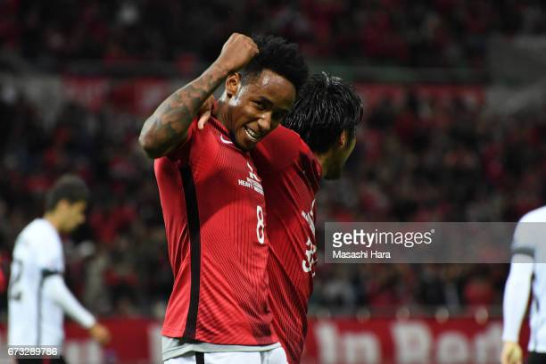 Rafael Silva of Urawa Red Diamonds celebrates their sixth goal during the AFC Champions League Group F match between Urawa Red Diamonds and Western...