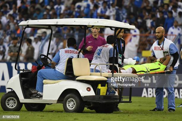 Rafael Silva of Urawa Red Diamonds is stretched off during the AFC Champions League Final 2017 first leg between AlHilal and Urawa Red Diamonds at...