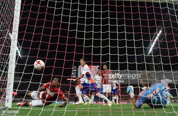 Rafael Silva of Urawa Red Diamonds scores his side's second goal during the JLeague J1 match between Urawa Red Diamonds and Albirex Niigata at...