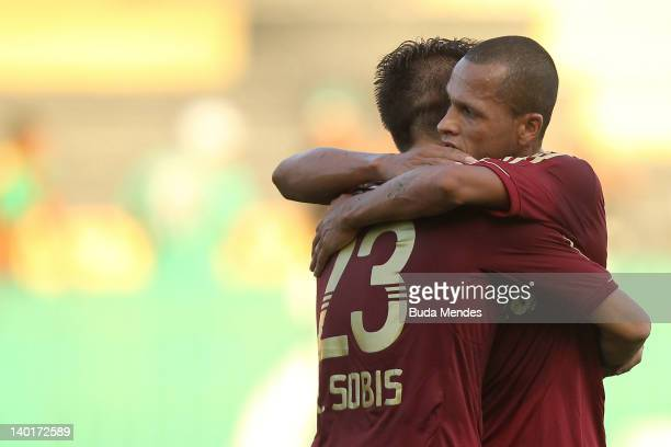 Rafael Sobis and Souza of Fluminense celebrate a scored goal againist Resende during a match between Resende v Fluminense as part of the Rio Cup at...