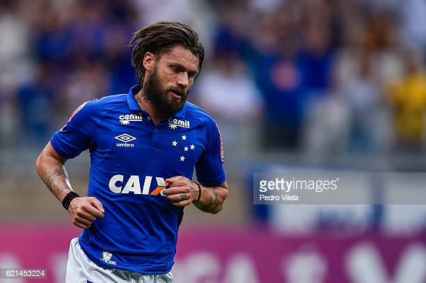 Rafael Sobis of Cruzeiro celebrates a scored goal against Fluminense during a match between Cruzeiro and Fluminense as part of Brasileirao Series A...