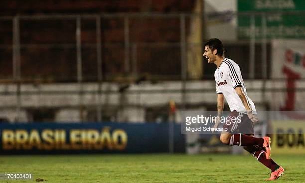 Rafael Sobis of Fluminense celebrates a goal during a match between Portuguesa and Fluminense as part of the Brazilian Serie A2013 at Caninde...