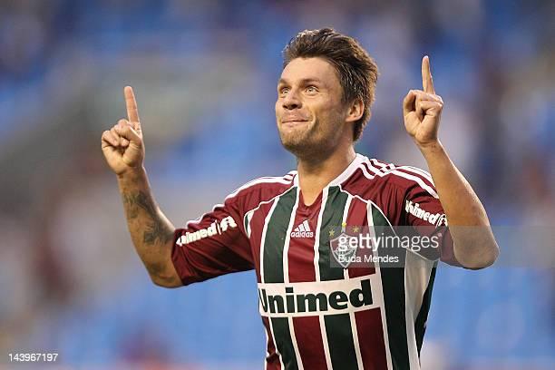 Rafael Sobis of Fluminense celebrates a scord goal during the final first leg match between Botafogo v Fluminense as part of Rio de Janeiro State...