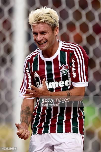 Rafael Sobis of Fluminense celebrates a scored goal against Goias during a match between Fluminense and Goias as part of Brasileirao Series A 2014 at...