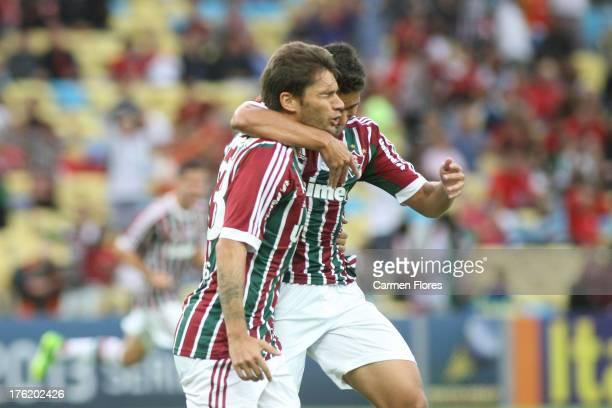 Rafael Sobis of Fluminense celebrates a scored goal during a match between Flamengo and Fluminense as part of the Brazilian Championship Serie A 2013...