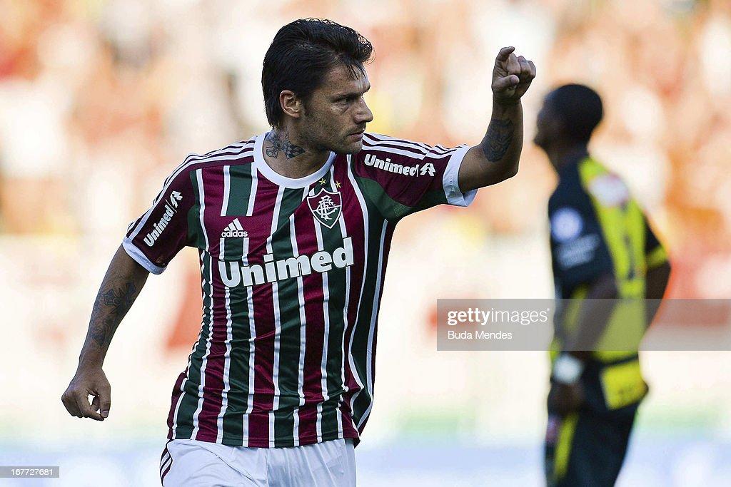 Rafael Sobis of Fluminense celebrates a scored goal during the match between Fluminense and Volta Redonda as part of Rio State Championship 2013 at Raulino de Oliveira Stadium on April 28, 2013 in Volta Redonda, Brazil.
