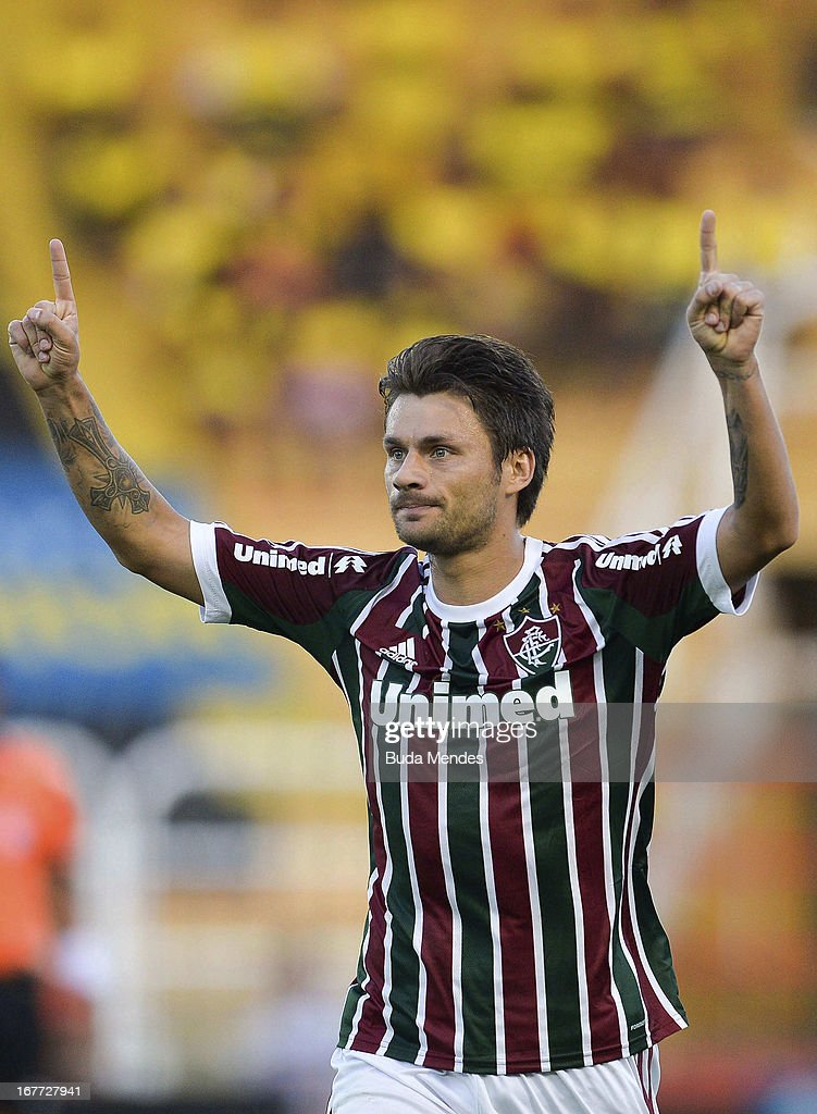 Rafael Sobis of Fluminense celebrates a scored goal during the match between Fluminense and Volta Redonda as part of Rio State Championship 2013 at Raulino de Oliveira Stadium on April 28, 2013 in Volta Redonda, Brazil.