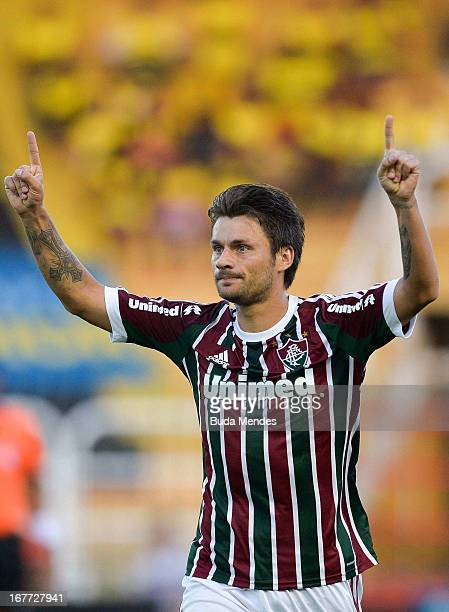Rafael Sobis of Fluminense celebrates a scored goal during the match between Fluminense and Volta Redonda as part of Rio State Championship 2013 at...