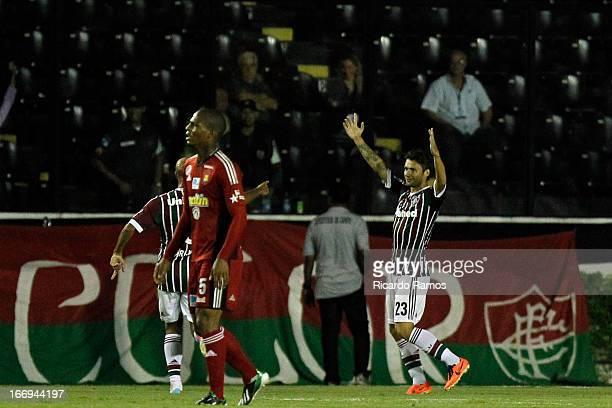 Rafael Sobis of Fluminense celebrates his goal during the match between Fluminense and Caracas as part of Copa Bridgestone Libertadores 2013 at São...