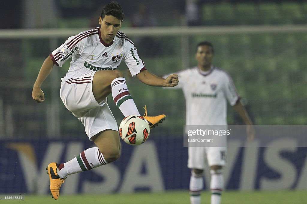 <a gi-track='captionPersonalityLinkClicked' href=/galleries/search?phrase=Rafael+Sobis&family=editorial&specificpeople=682143 ng-click='$event.stopPropagation()'>Rafael Sobis</a> of Fluminense during a match between Caracas FC and Fluminense as part of the 2013 Copa Bridgestone Libertadores at the Olympic Stadium on February 13, 2013 in Caracas, Venezuela.