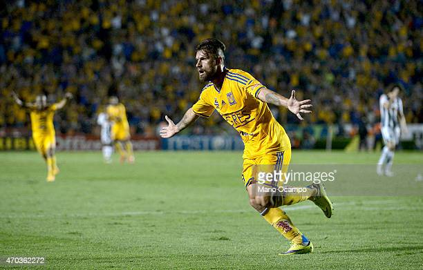 Rafael Sobis of Tigres celebrates after scoring his team's second goal during a match between Tigres UANL and Monterrey as part of 14th round...