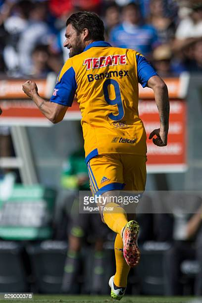 Rafael Sobis of Tigres celebrates after scoring the firs goal of his team during the 17th round match between Cruz Azul and Tigres UANL as part of...