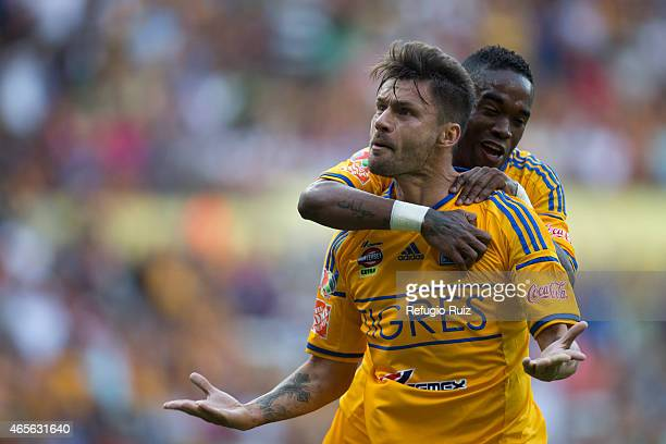 Rafael Sobis of Tigres celebrates after scoring the first goal of his team during a match between Leones Negros and Tigres UANL as part of 9th round...