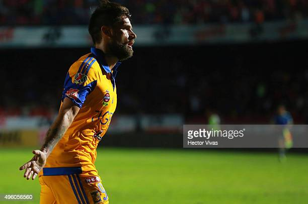 Rafael Sobis of Tigres celebrates after scoring the third goal of his team during the 16th round match between Veracruz and Tigres UANL as part of...