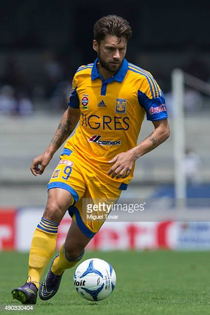 Rafael Sobis of Tigres drives the ball during a 10th round match between Pumas UNAM and Tigres UANL as part of the Apertura 2015 Liga MX at Olimpico...