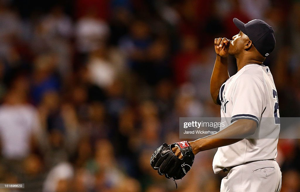 Rafael Soriano #29 of the New York Yankees celebrates following their win against the Boston Red Sox during the game on September 12, 2012 at Fenway Park in Boston, Massachusetts.
