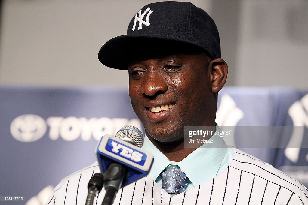 <a gi-track='captionPersonalityLinkClicked' href=/galleries/search?phrase=Rafael+Soriano&family=editorial&specificpeople=587892 ng-click='$event.stopPropagation()'>Rafael Soriano</a> of the New York Yankees speaks during his introduction press conference on January 19, 2011 at Yankee Stadium in the Bronx borough of New York City. The Yankees signed Soriano to a three year contract.