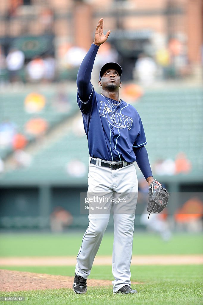 <a gi-track='captionPersonalityLinkClicked' href=/galleries/search?phrase=Rafael+Soriano&family=editorial&specificpeople=587892 ng-click='$event.stopPropagation()'>Rafael Soriano</a> #29 of the Tampa Bay Rays celebrates after a 5-4 victory against the Baltimore Orioles at Camden Yards on July 21, 2010 in Baltimore, Maryland.