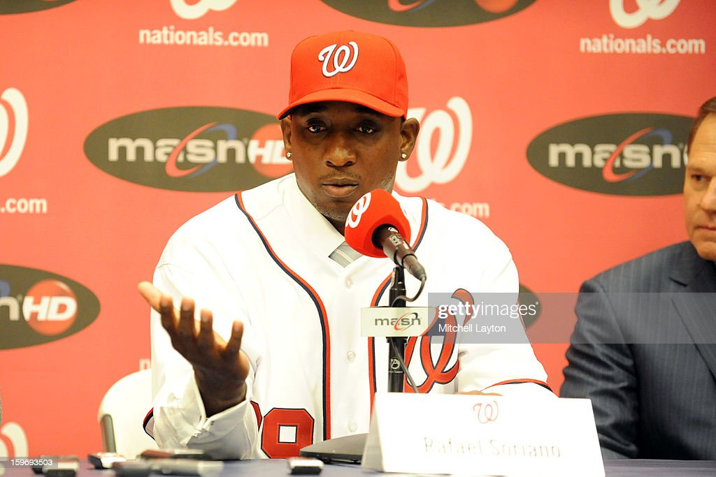 Rafael Soriano of the Washington Nationals address the media during his introduction press conference on January 17, 2013 at Nationals Park in Washington, DC.