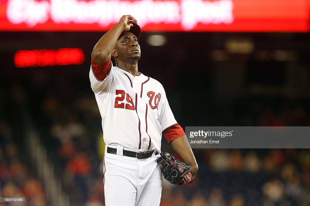 <a gi-track='captionPersonalityLinkClicked' href=/galleries/search?phrase=Rafael+Soriano&family=editorial&specificpeople=587892 ng-click='$event.stopPropagation()'>Rafael Soriano</a> #29 of the Washington Nationals adjusts his cap on the mound during the ninth inning, when he allowed the Philadelphia Phillies three runs to tie the game in an eventual 9-8 Phillies win in extra innings at Nationals Park on September 5, 2014 in Washington, DC.